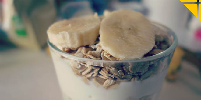 Petit Déjeuener rapide et proteine : Fromage blanc Avoine Banane
