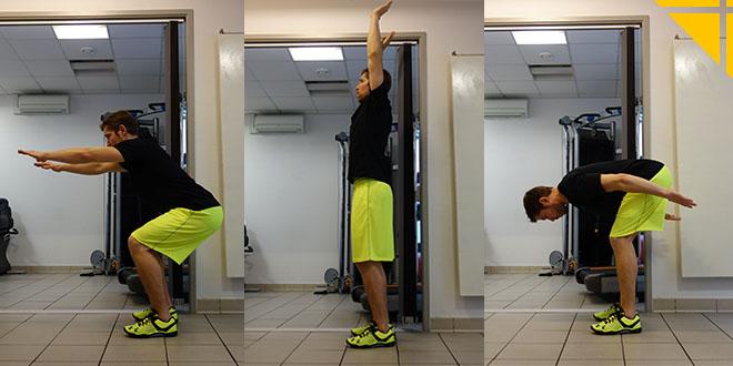 squats et enroulés pour muscler le dos